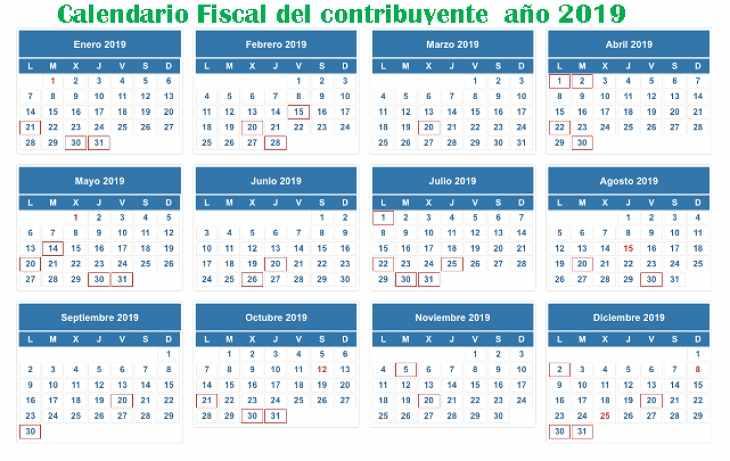 calendario fiscal del contribuyente 2019