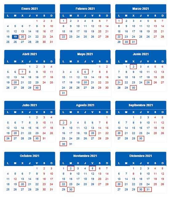 calendario fiscal del contribuyente 2021